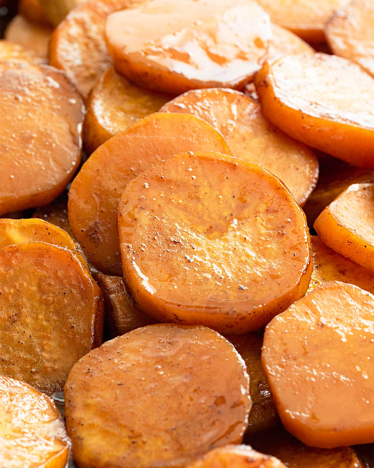 closeup of freshly made candied yams.