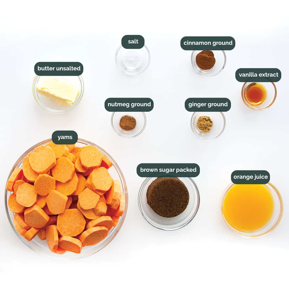 overhead of all the ingredients needed to make candied yams.