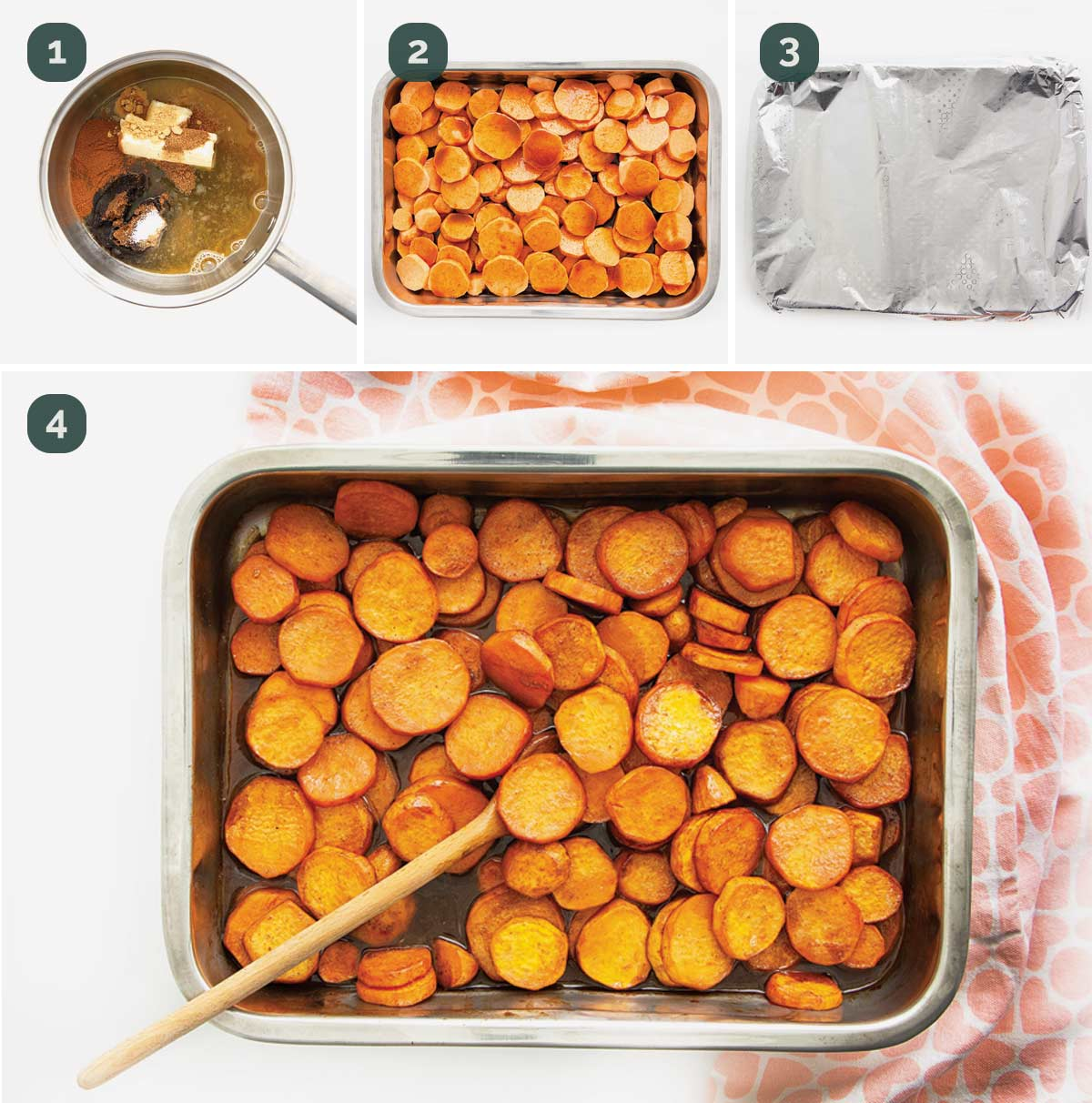 process shots showing how to make candied yams.