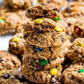 a stack of monster cookies.