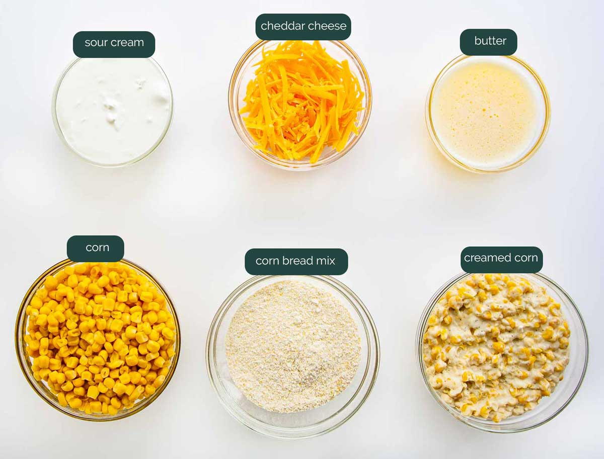 overhead shot of all the ingredients needed to make corn casserole.