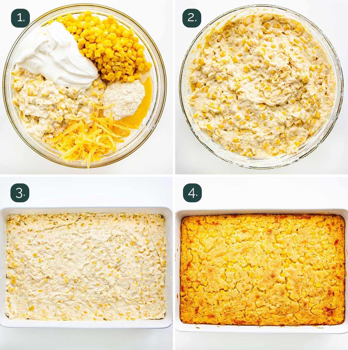 process shots showing how to make corn casserole.