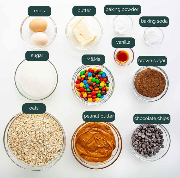 overhead shot of all ingredients needed to make monster cookies.