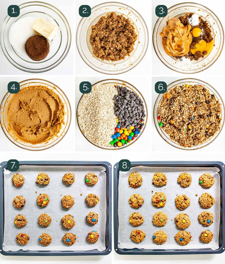detailed process shots showing how to make monster cookies.