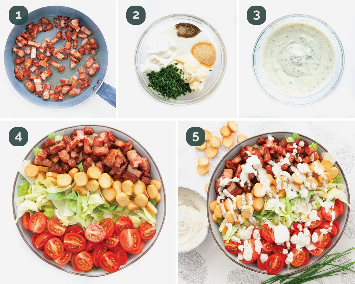 detailed process shots showing how to make a blt salad.