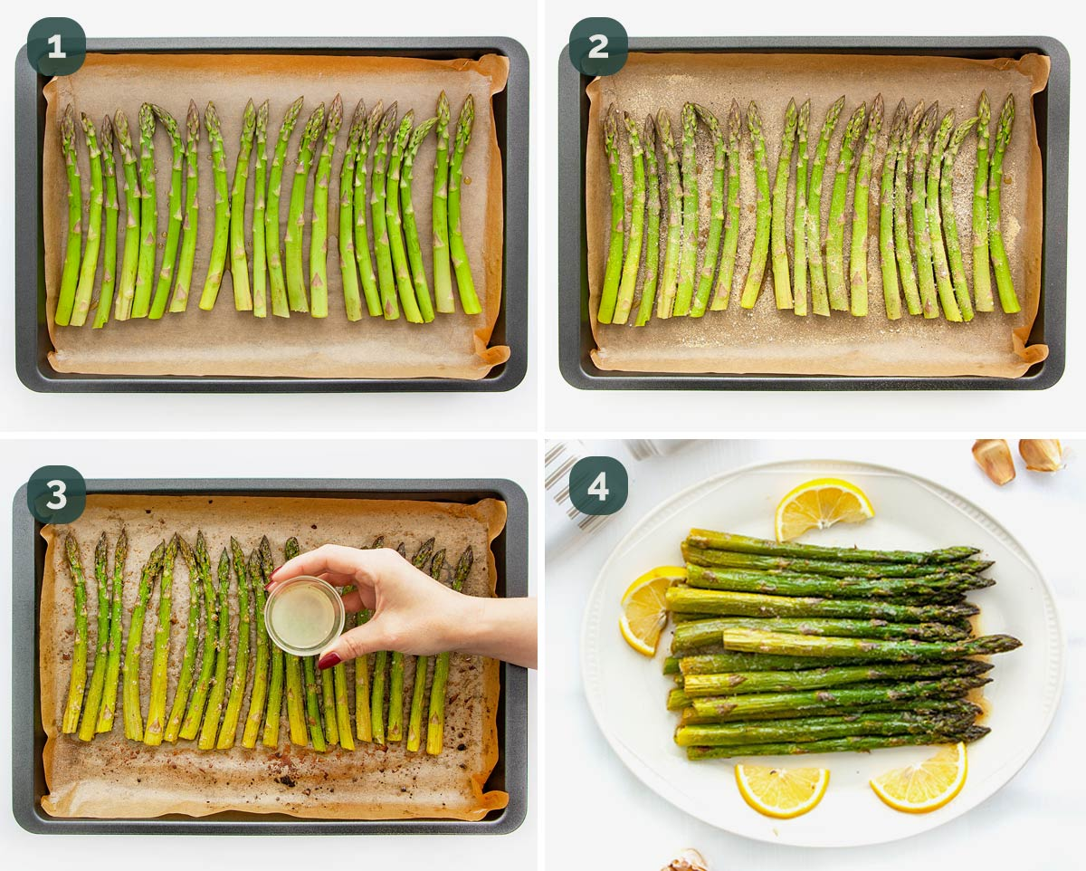 detailed process shots showing how to roast asparagus.