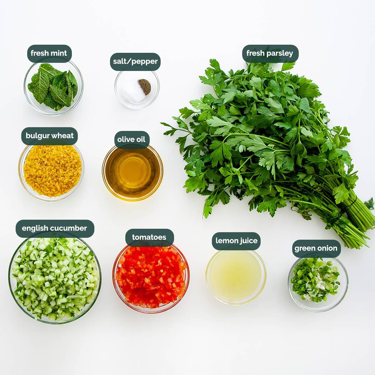 overhead shot of ingredients needed to make tabbouleh salad.