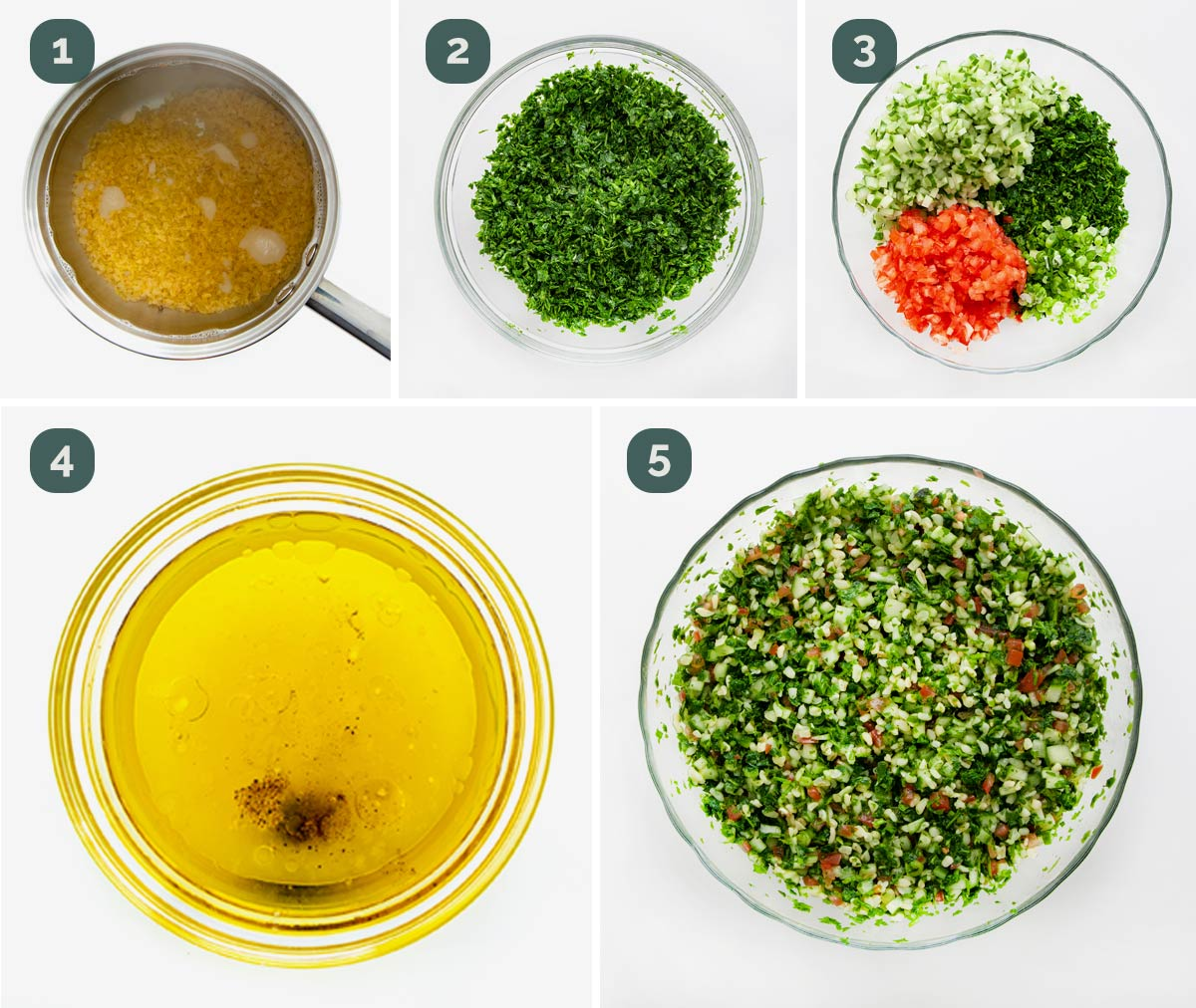 process shots showing how to make tabbouleh salad.