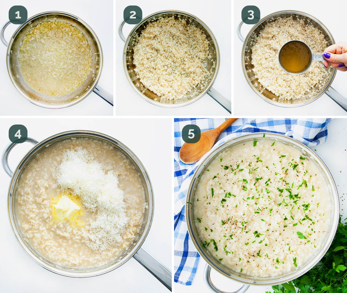 process shots showing how to make risotto.