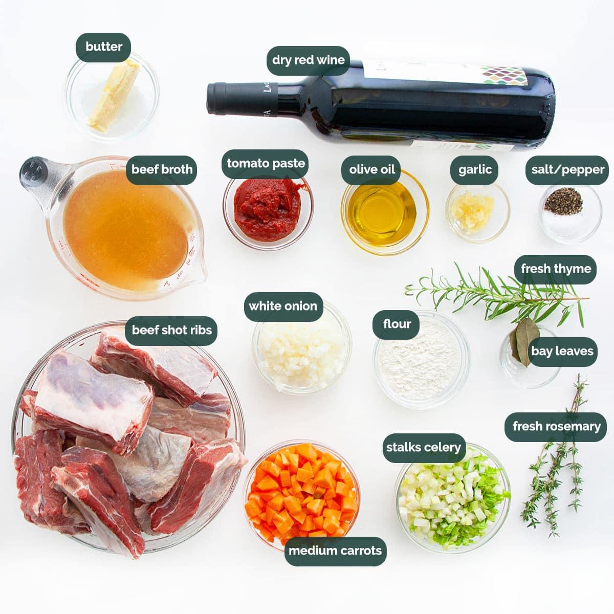overhead shot of ingredients needed to make braised beef short ribs.