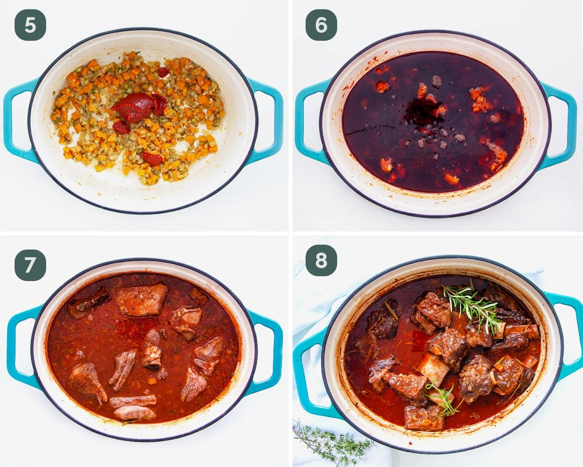 process shots showing how to make braised beef short ribs.