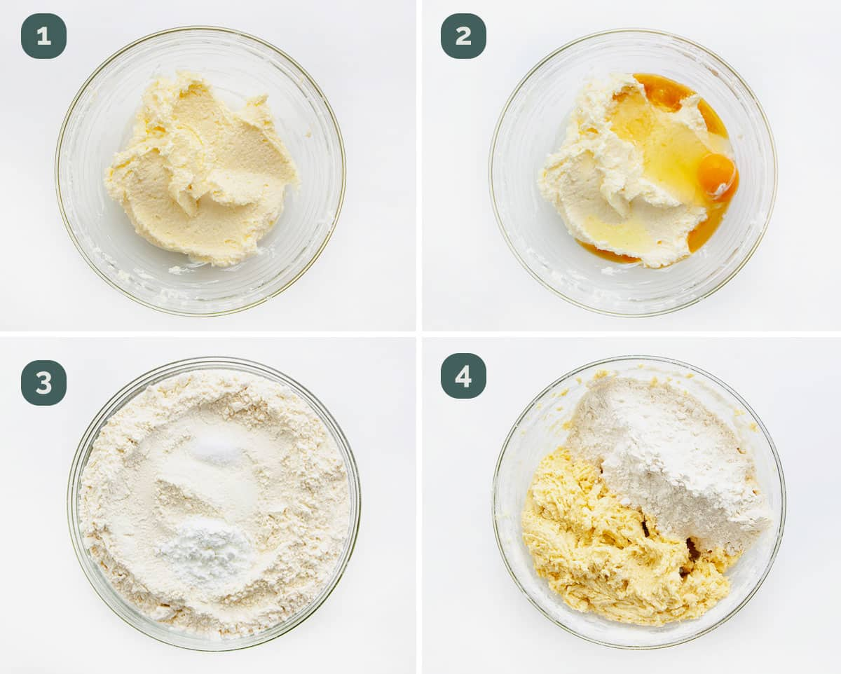 process shots showing how to make sugar cookie dough.