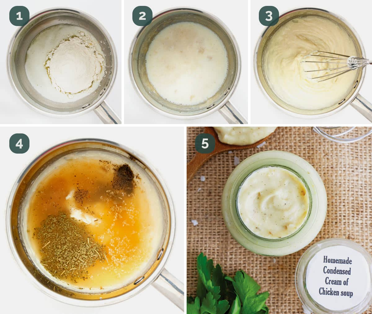 process shots showing how to make condensed cream of chicken soup.