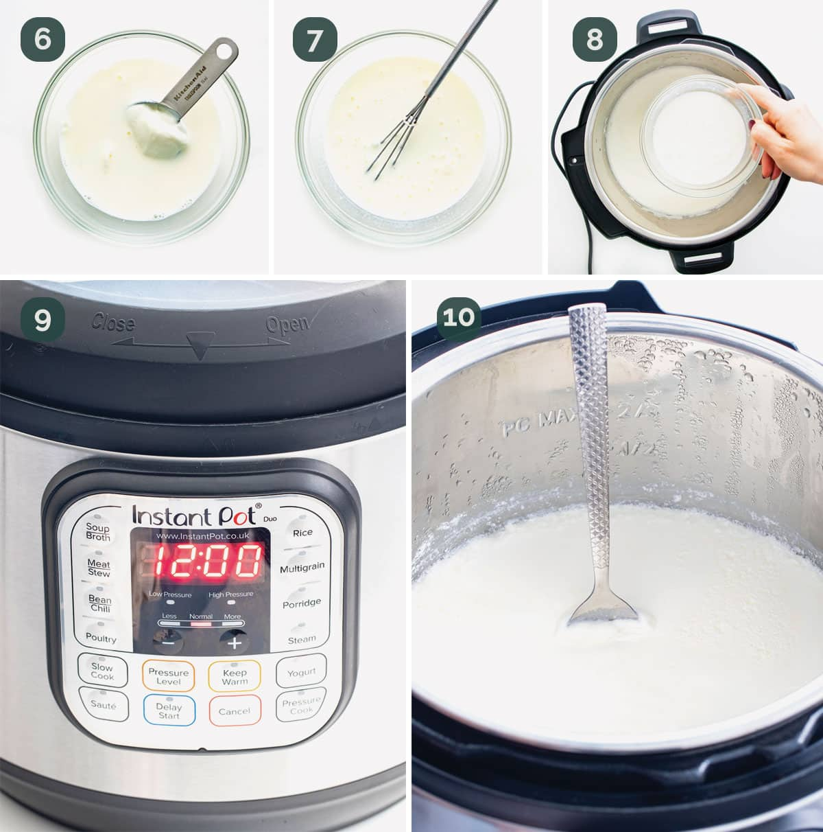 process shots showing how to make yogurt in an instant pot.