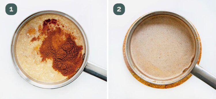 process shots showing how to make pumpkin spice latte.