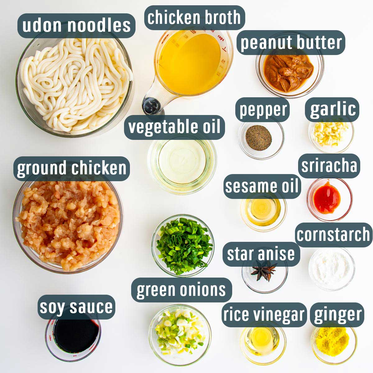 overhead shot of ingredients needed to make quick chicken peanut noodles.