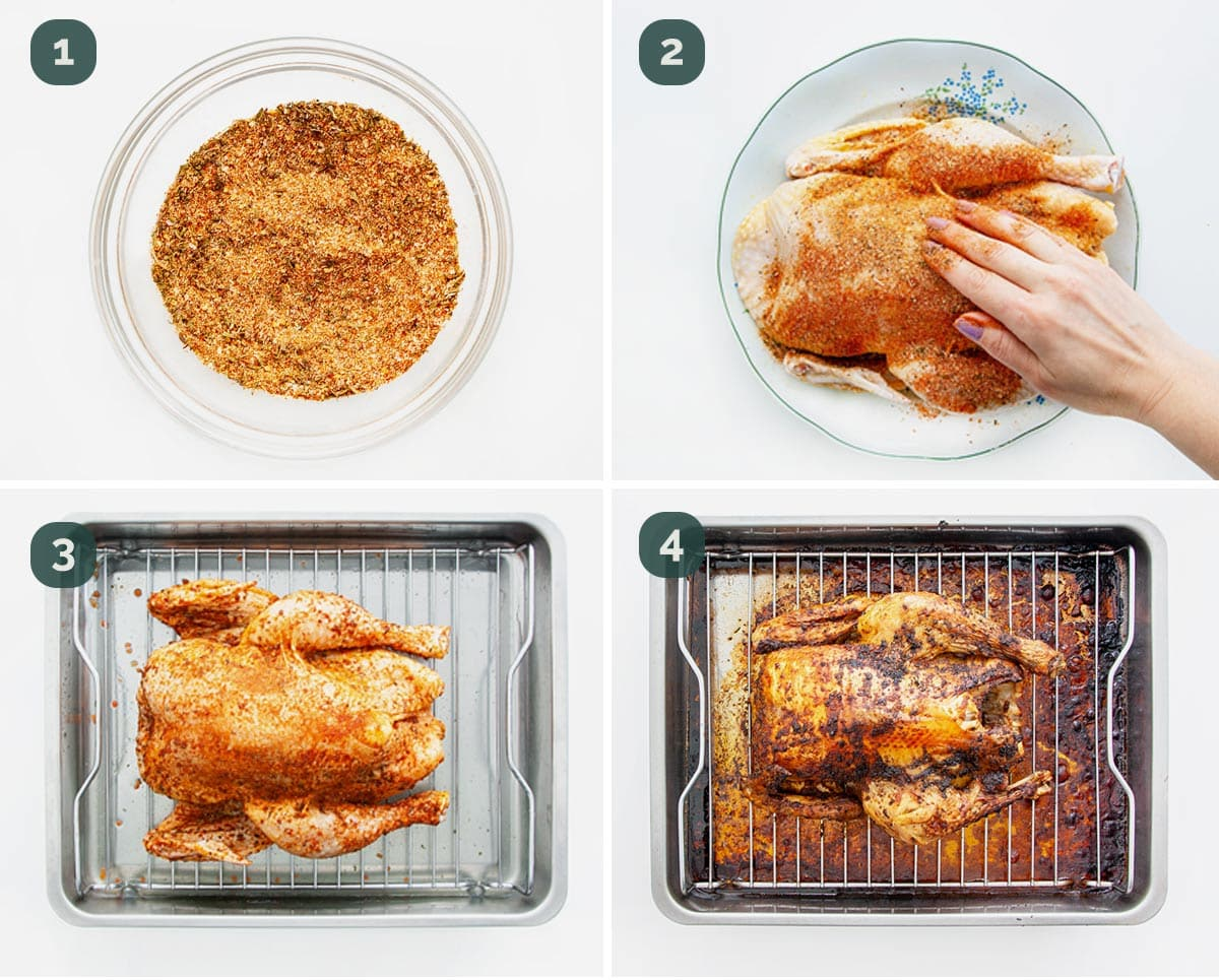 process shots showing how to prep a chicken for roasting.