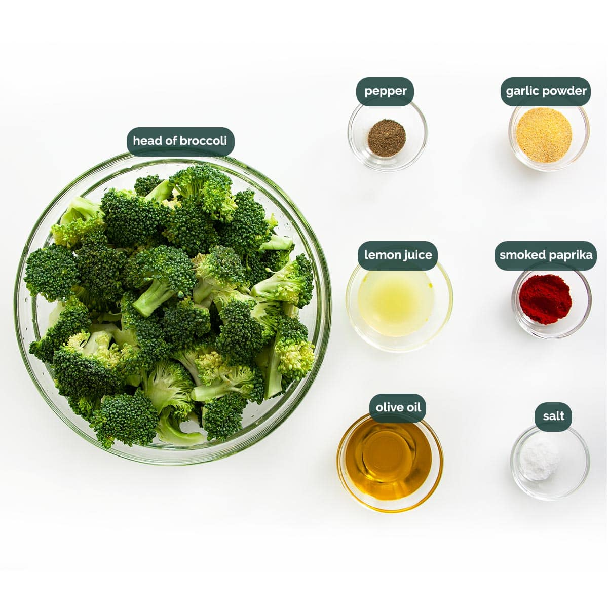 overhead shot of all the ingredients needed to make roasted broccoli.