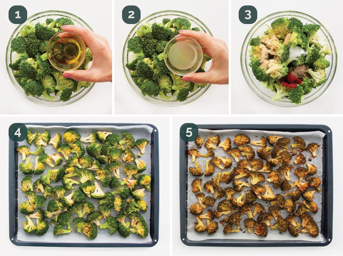 detailed process shots showing how to make roasted broccoli.