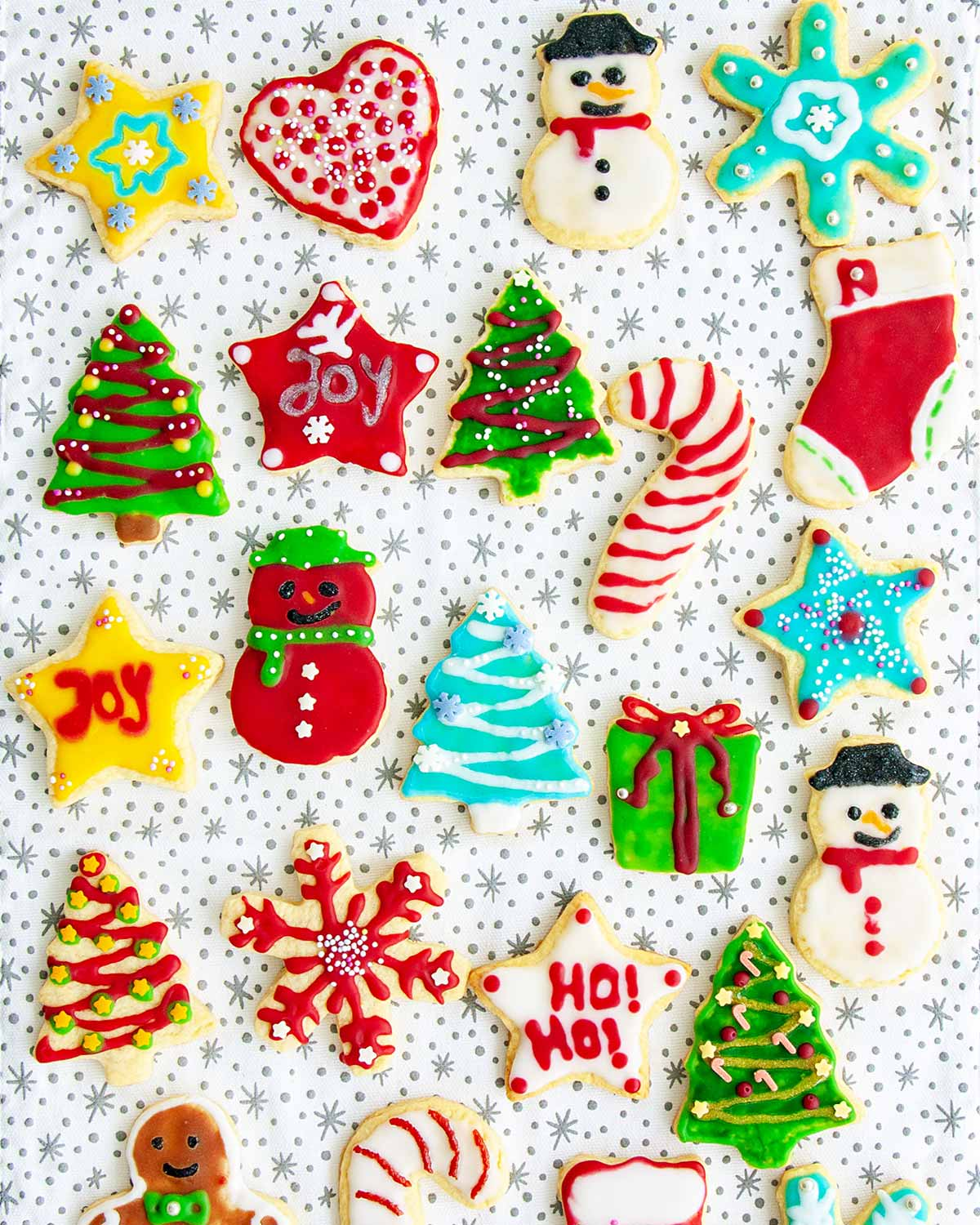 overhead of beautifully decorated sugar cookies.