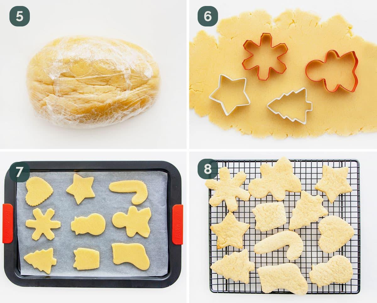 process shots showing how to cut dough for sugar cookies.