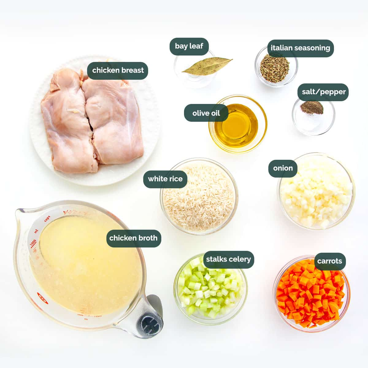 overhead shot of ingredients needed to make chicken and rice soup.