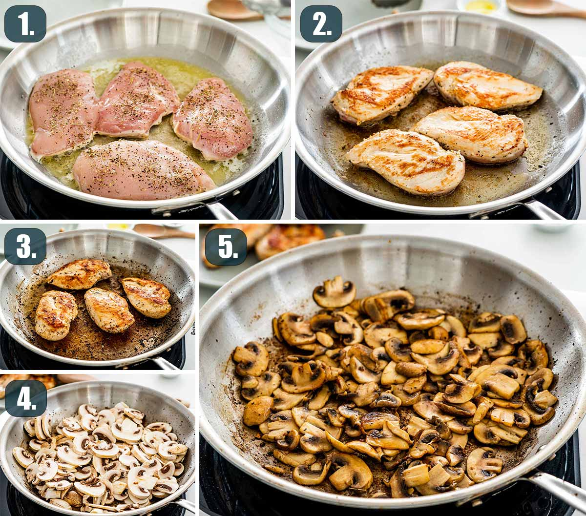 process shots showing how to make creamy parmesan chicken and mushrooms.