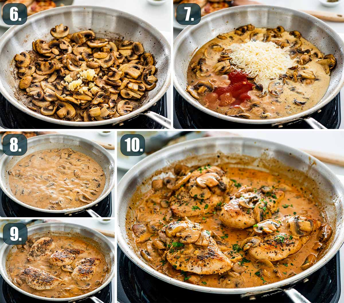 process shots showing how to finish creamy parmesan chicken and mushrooms.