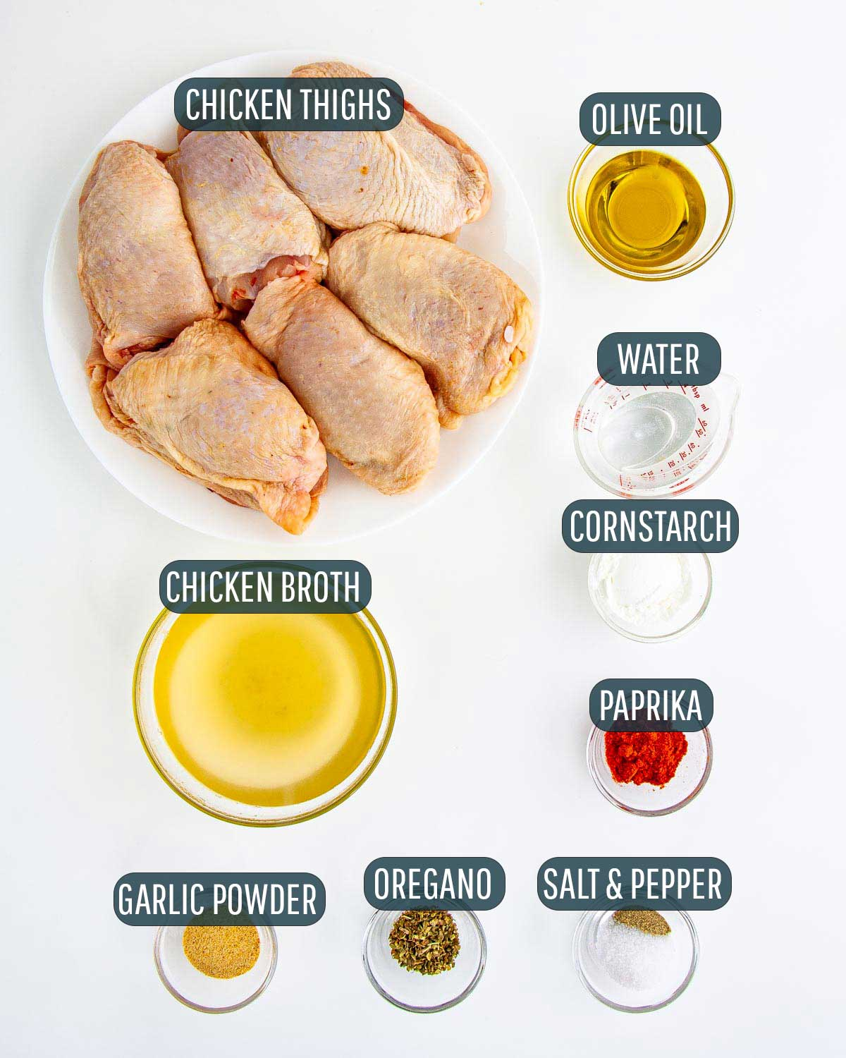 overhead shot of all the ingredients needed to make chicken thighs in the instant pot.