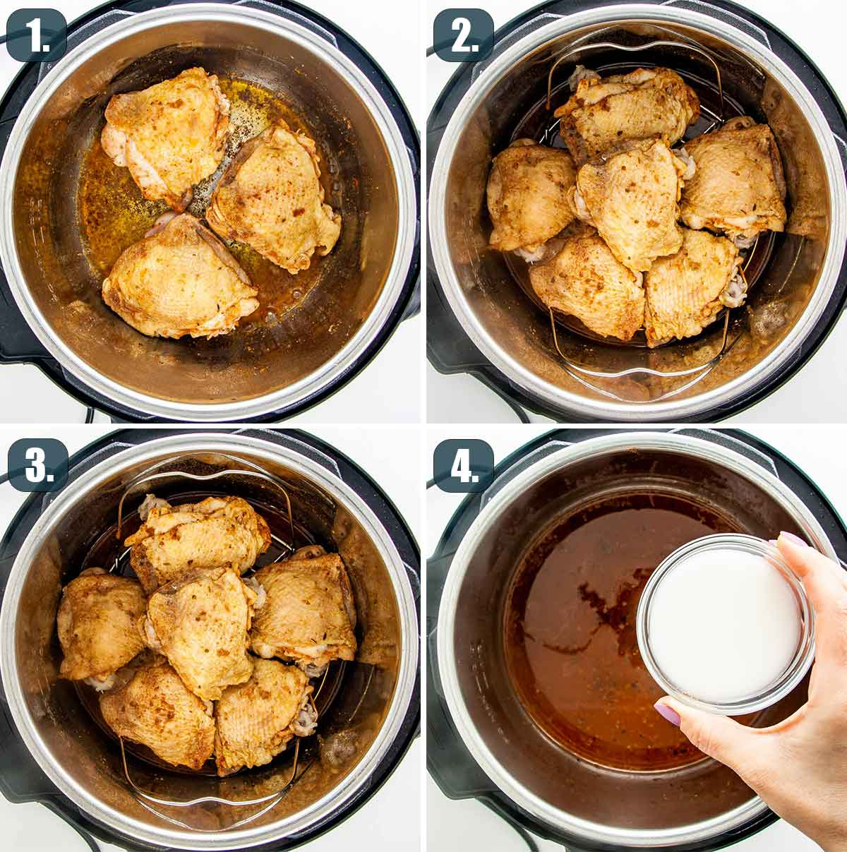detailed process shots showing how to make chicken thighs in the instant pot.