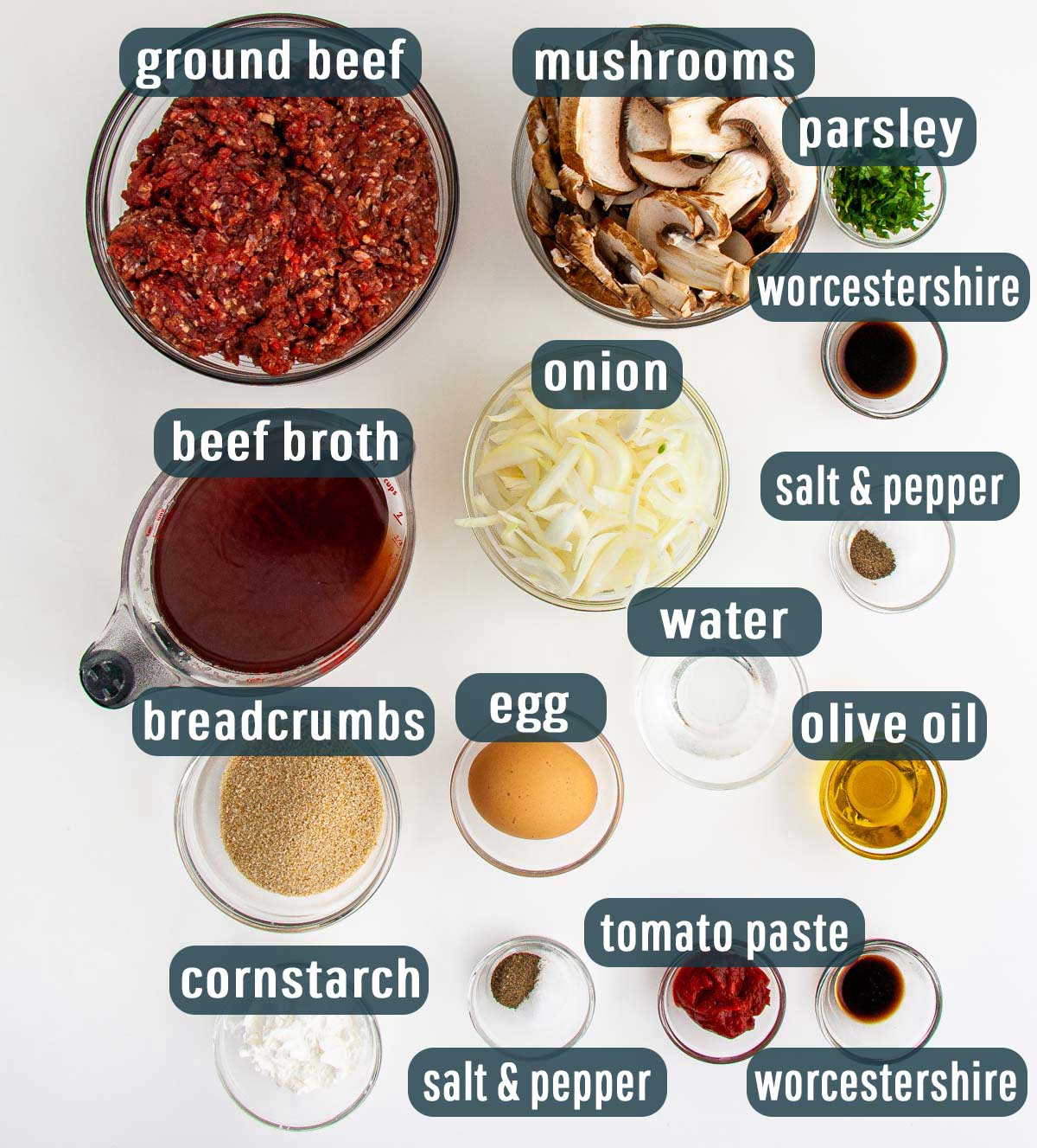 overhead shot of ingredients needed to make salisbury steak in the instant pot.
