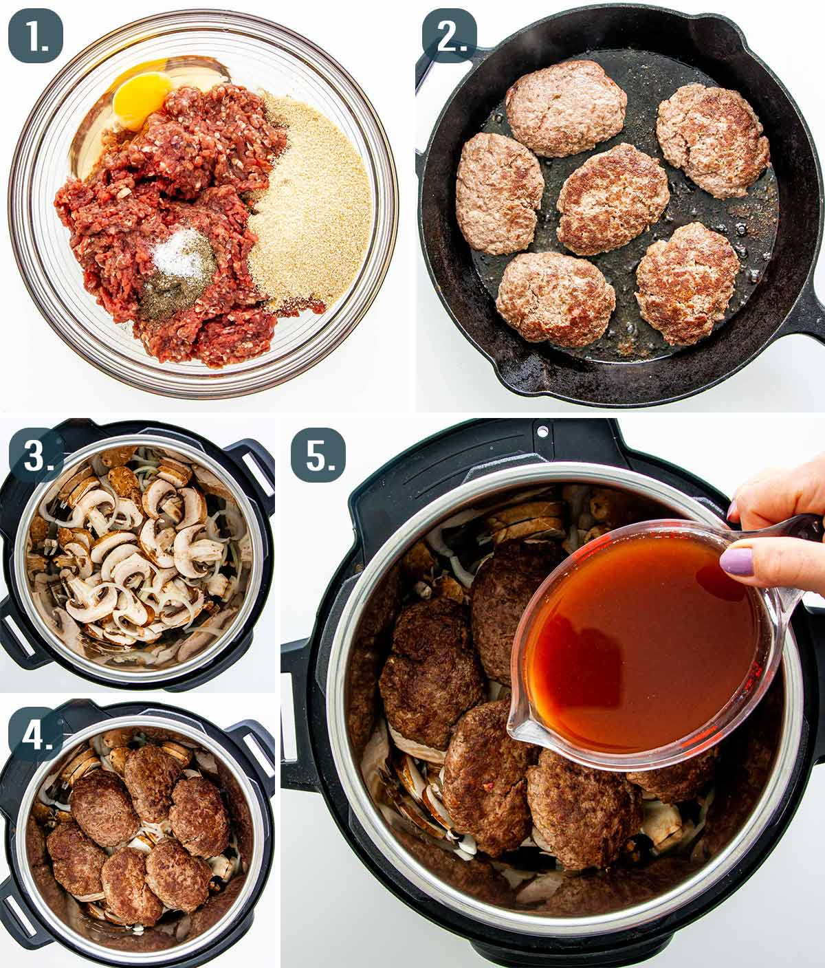 detailed process shots showing how to make instant pot salisbury steak.
