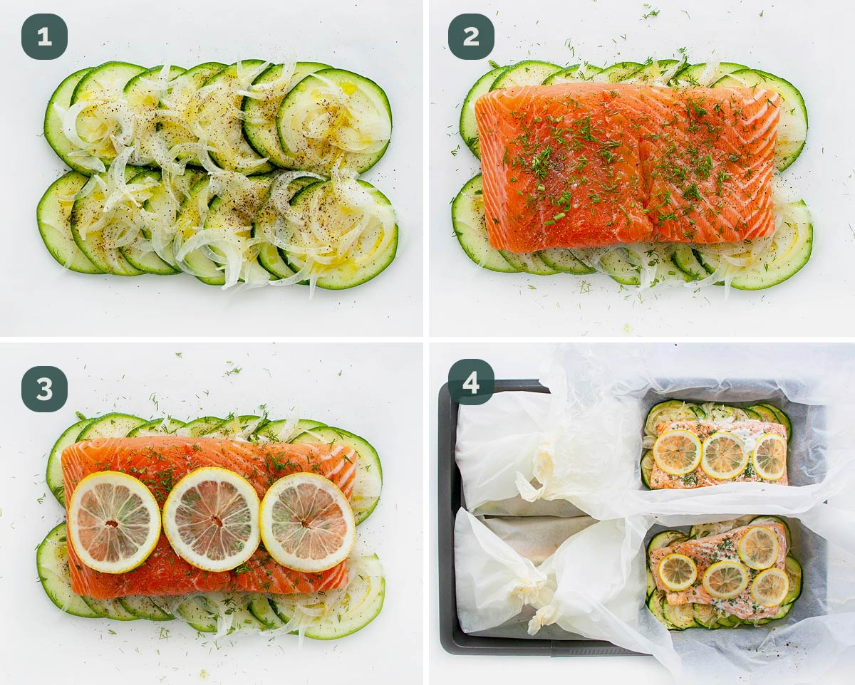 detailed process shots showing how to make salmon en papillote.