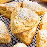 freshly baked scones on a cooling rack.