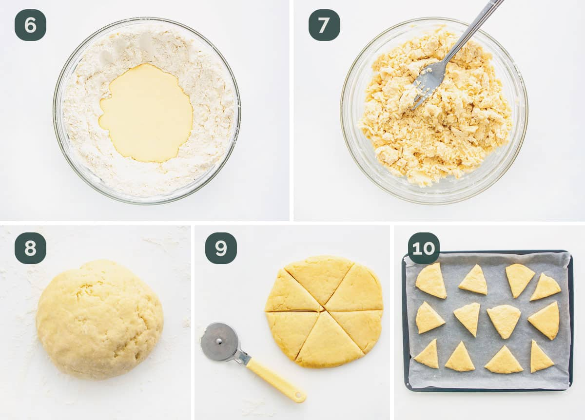 process shots showing how to shape and prep dough for baking scones.