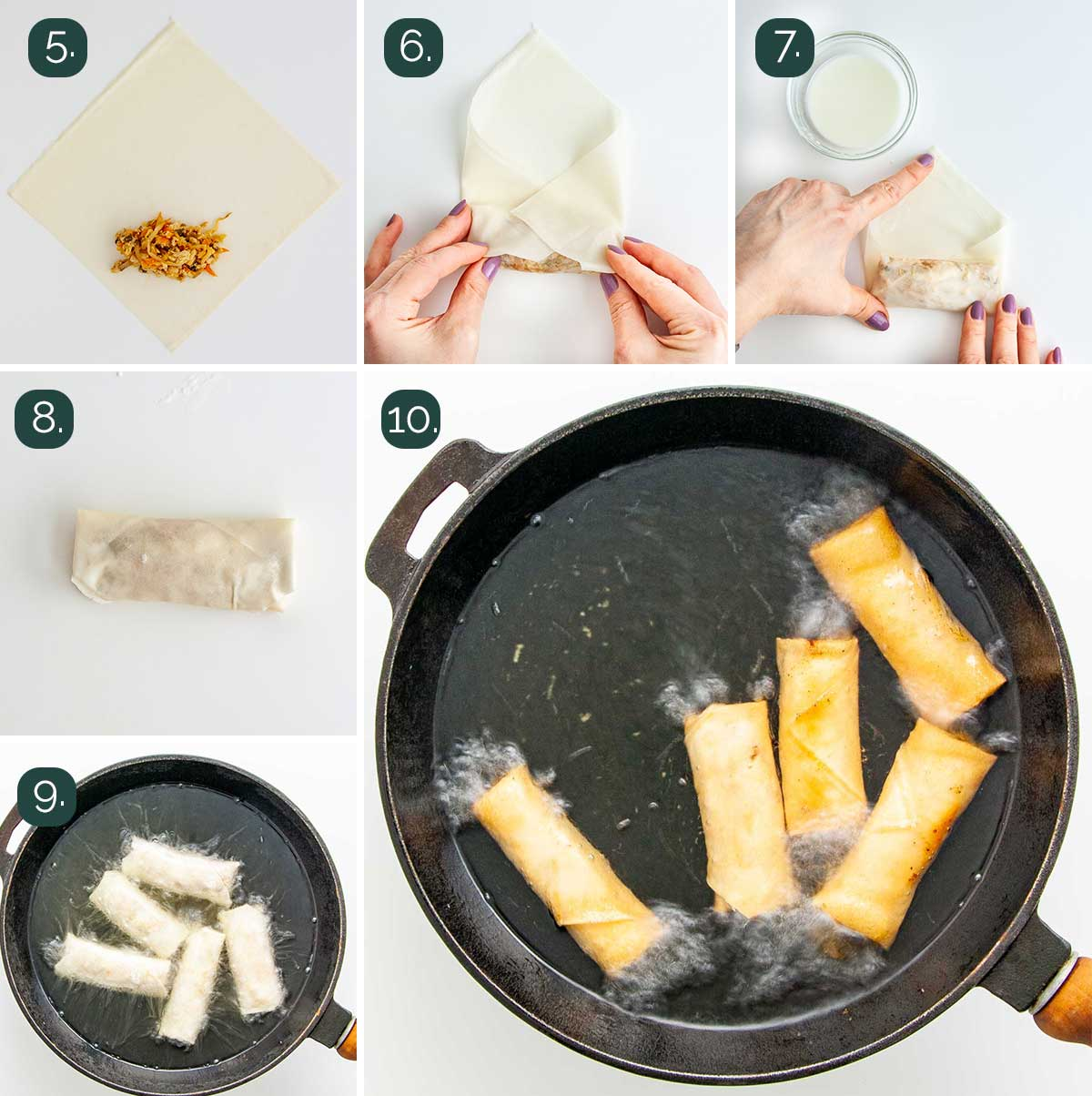 process shots showing how to fold spring rolls and fry them.