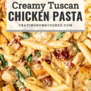 pin for creamy tuscan chicken pasta.