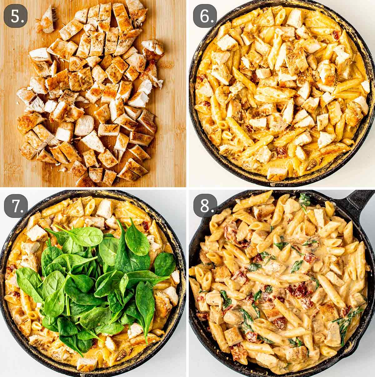 detailed process shots showing how to finish making creamy tuscan chicken pasta.