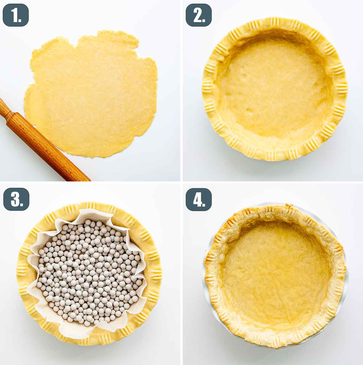 process shots showing how to prepare pie crust.