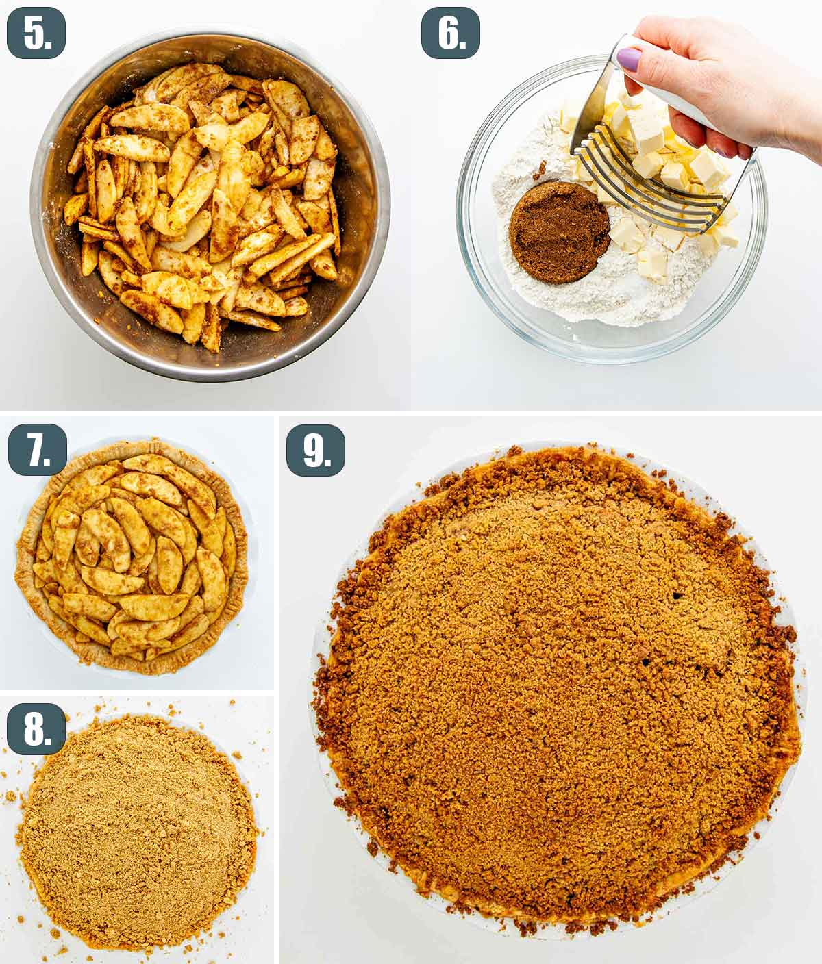 process shot showing how to assemble a dutch apple pie and bake it.