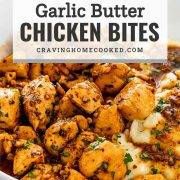pin for garlic butter chicken bites.