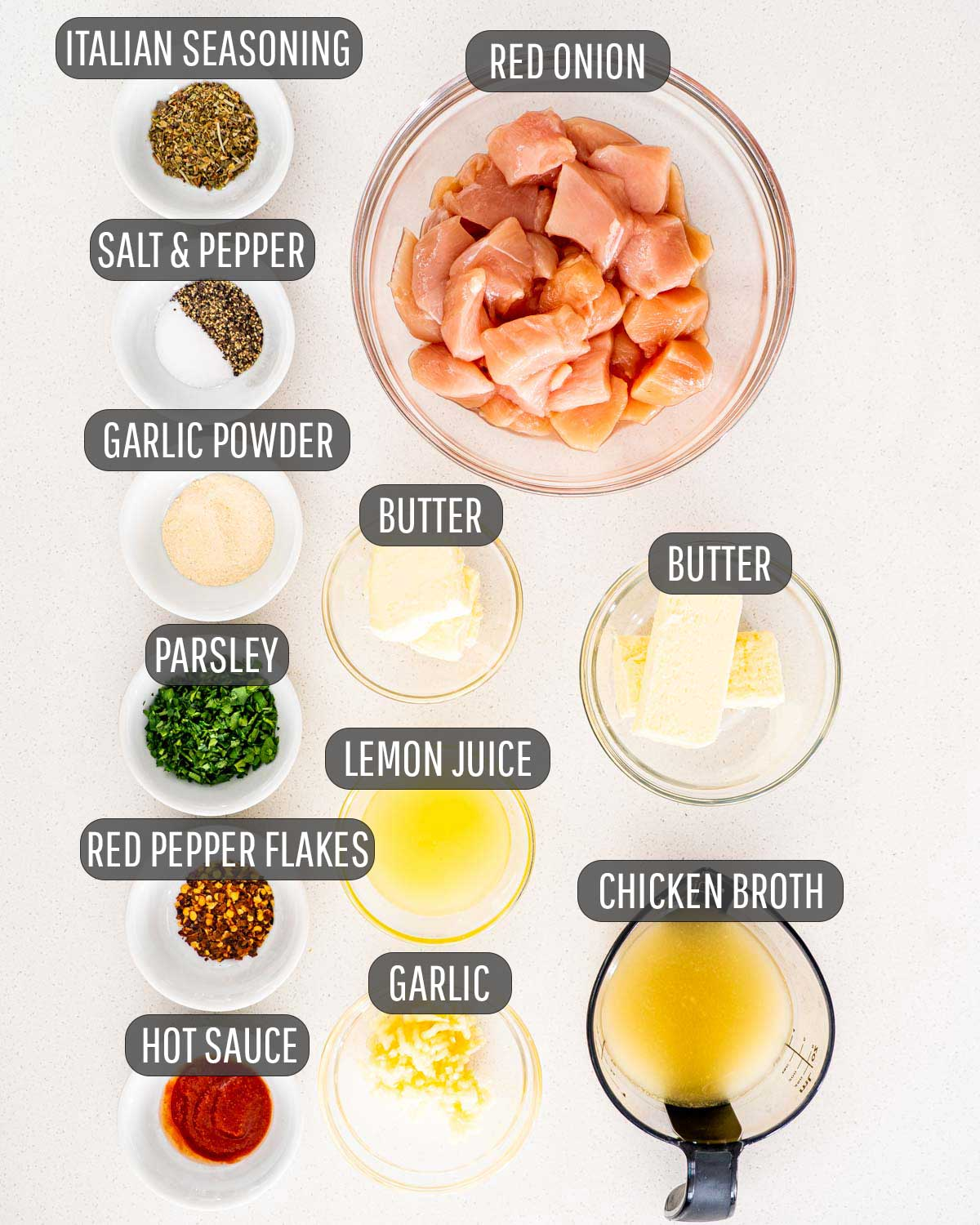 overhead shot of ingredients needed to make garlic butter chicken bites.
