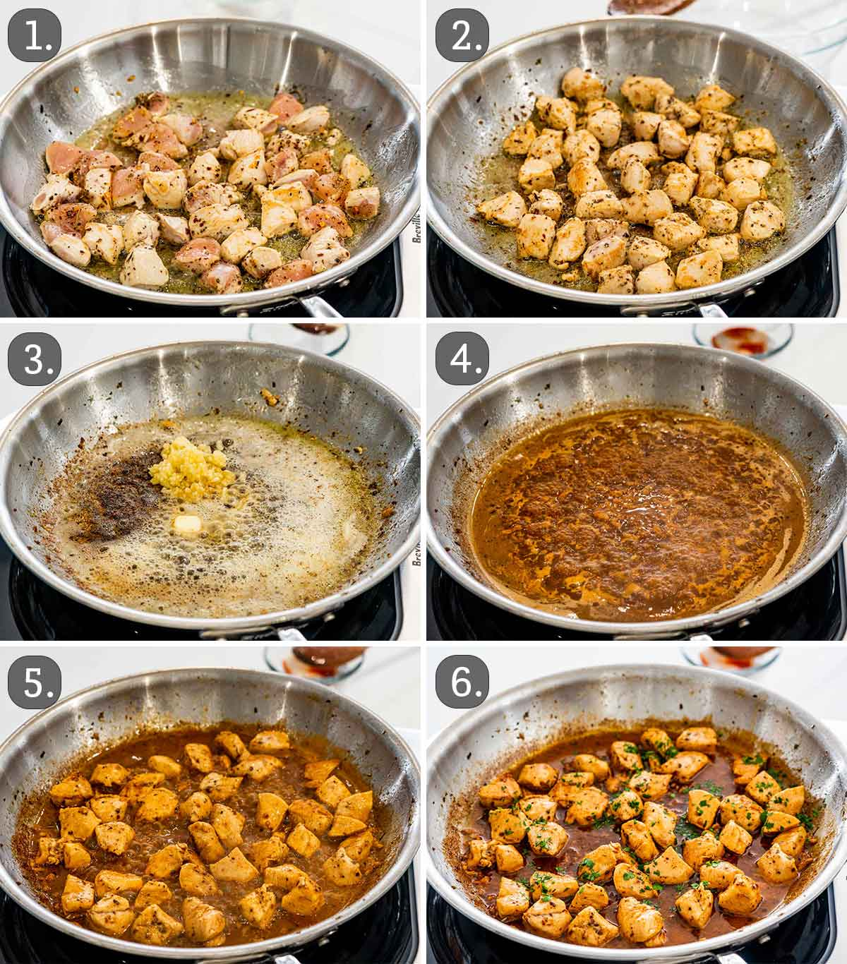 detailed process shots showing how to make garlic butter chicken bites.