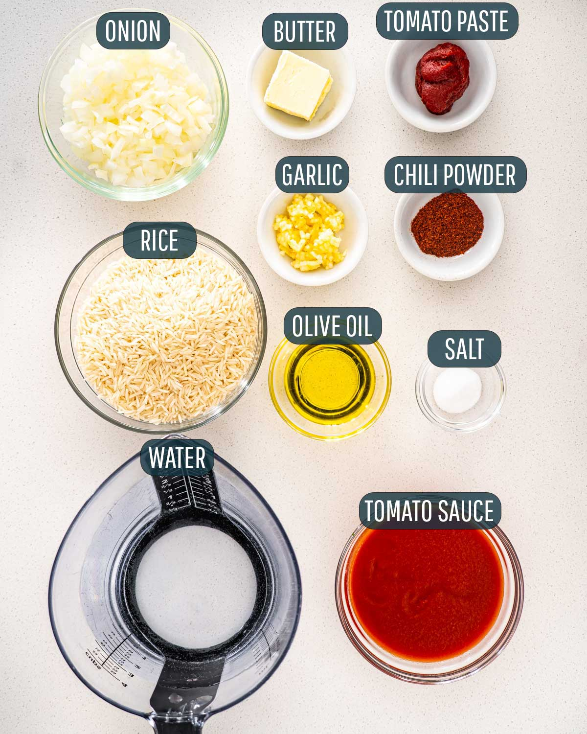 overhead shot of ingredients needed to make mexican rice.