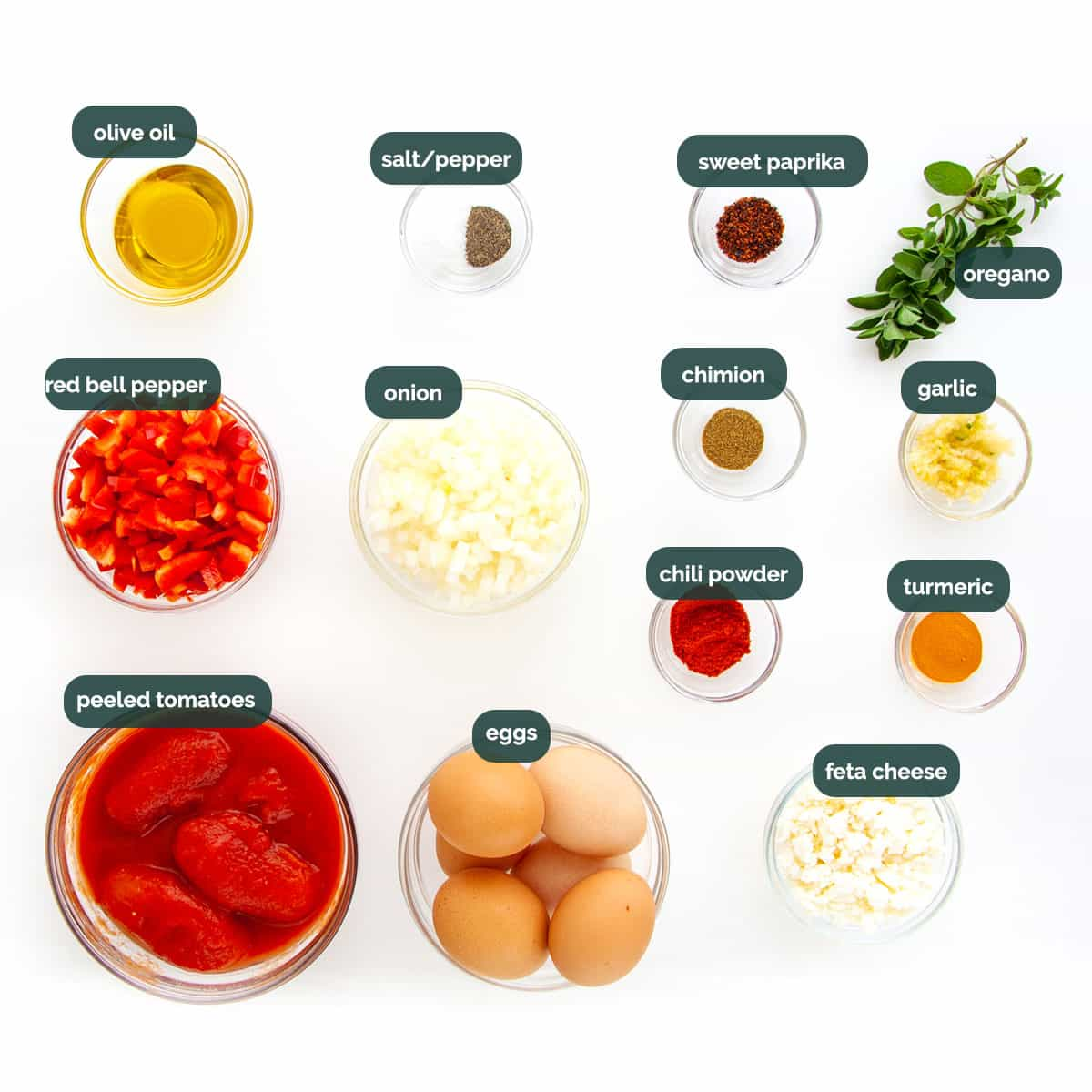 overhead shot of all the ingredients needed to make shakshuka.