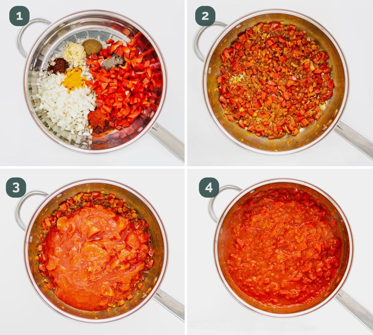 process shots showing how to make sauce for shakshuka.