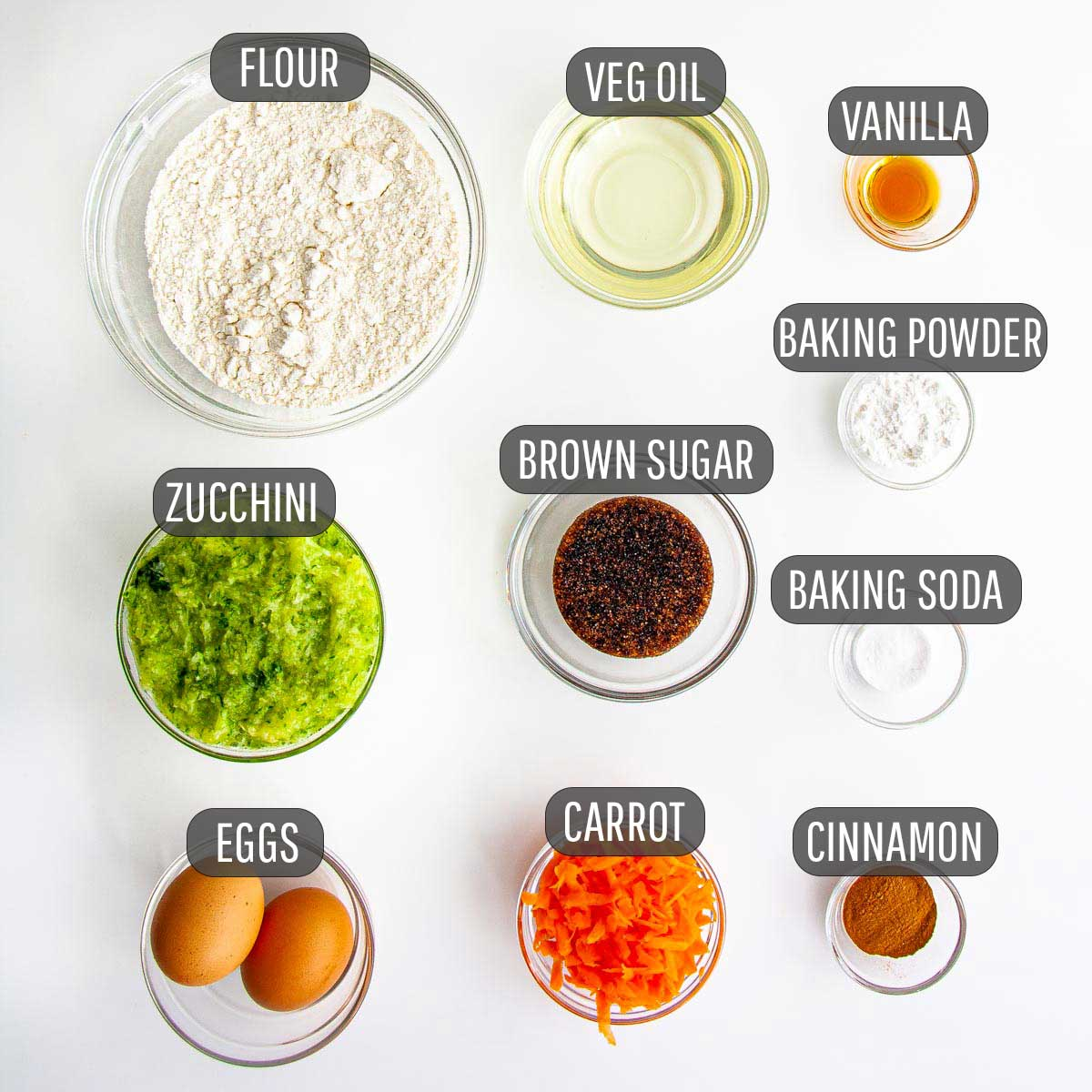 overhead shot of all the ingredients needed to make carrot zucchini bread.