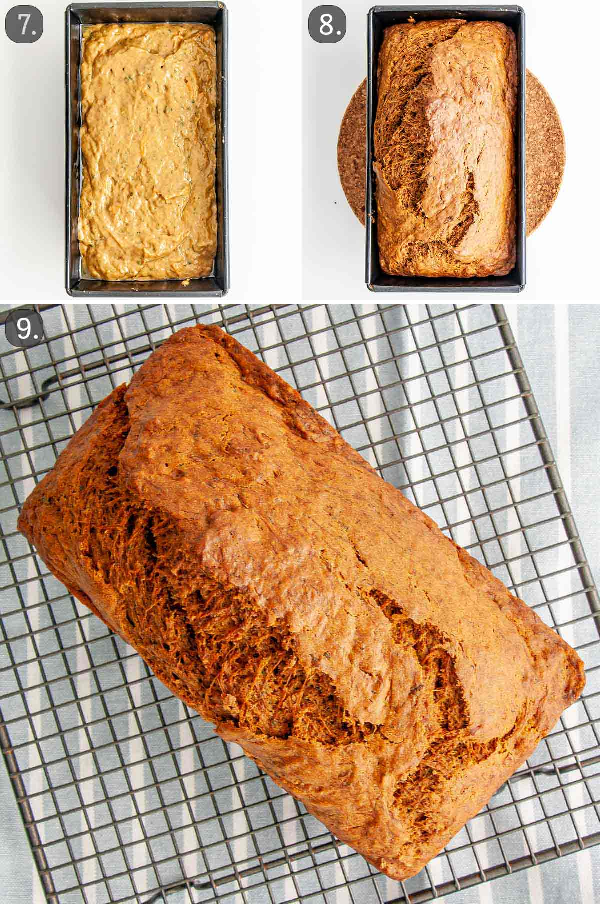 zucchini bread before and after baking.