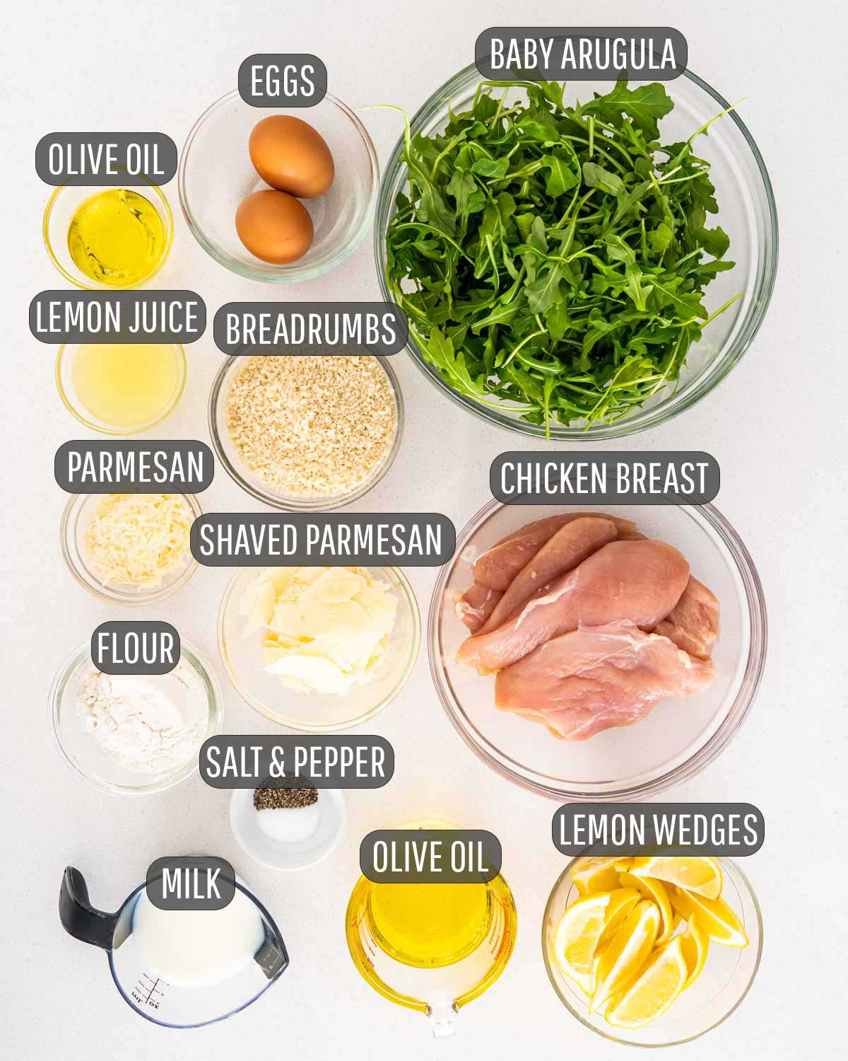 all ingredients needed for chicken milanese.