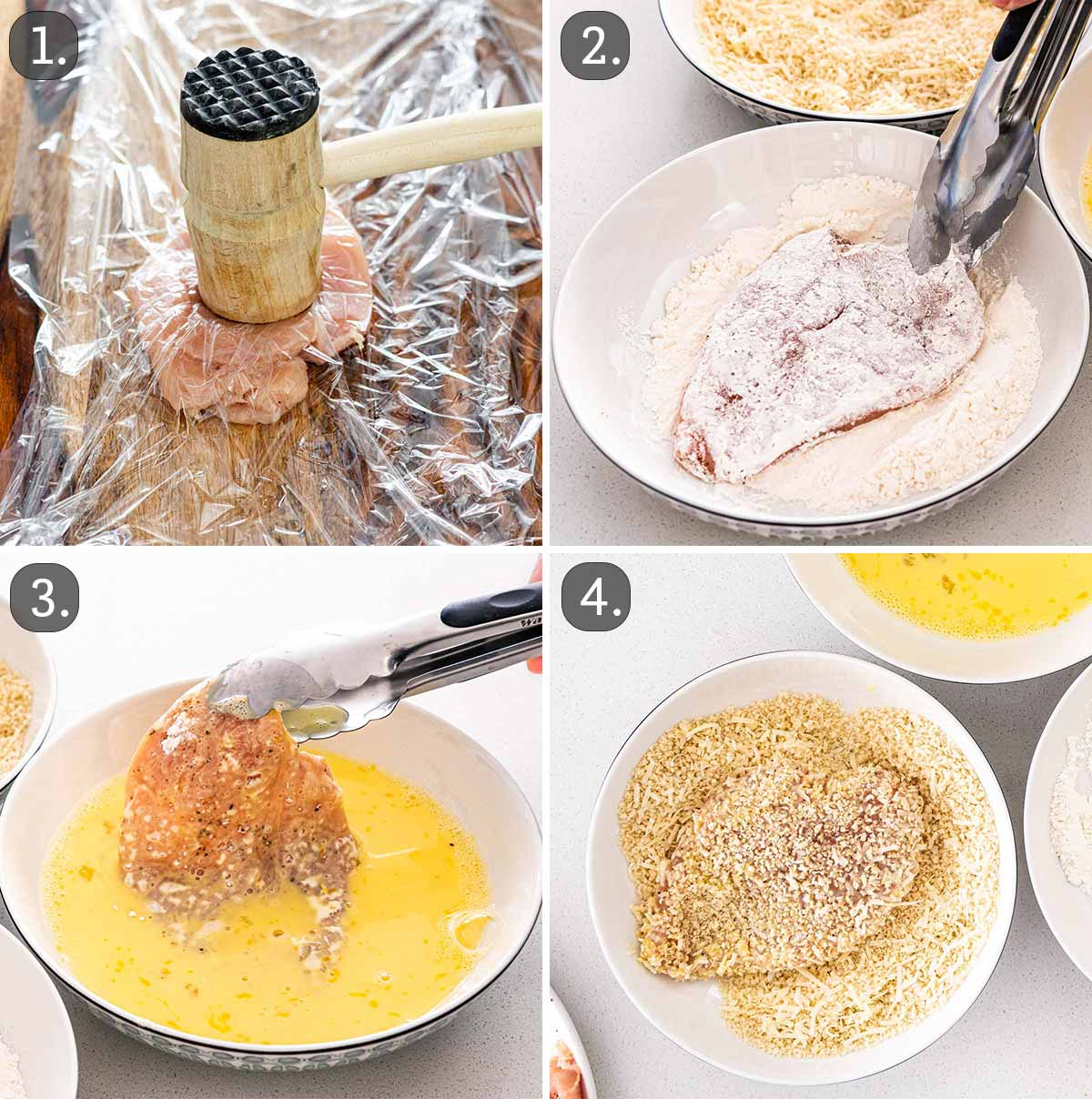 process shots showing how to prep chicken to make chicken milanese.